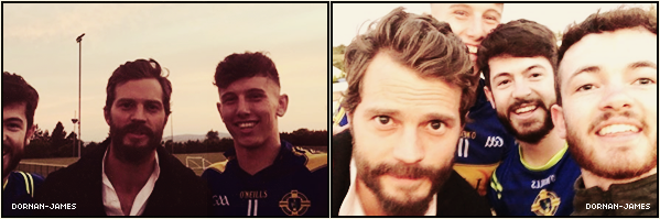 . 31/05/19─ Voici deux nouvelles photos de Jamie Dornan posant avec des fans de foot . Sa fait du bien de voir Jamie sortir un peu , cette fois-si posant avec des fans après un match de foot peut-être ? Je sais pas. .