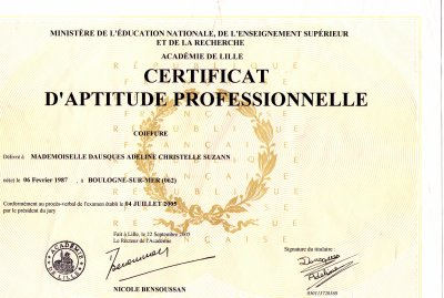 diplome coiffure