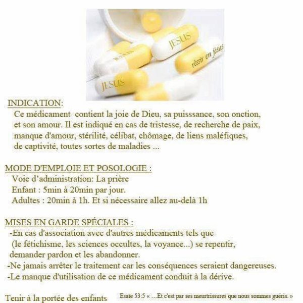 Médicaments à prendre sans modération !!!!