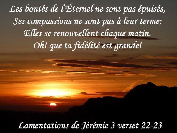 Lamentation de Jérémie chapitre 3 versets 22-23