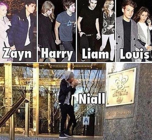 Pour Harry ce n'est pas encore sur qu'il est avec Taylor , mais Niall c'est sur il est seul :'( ....