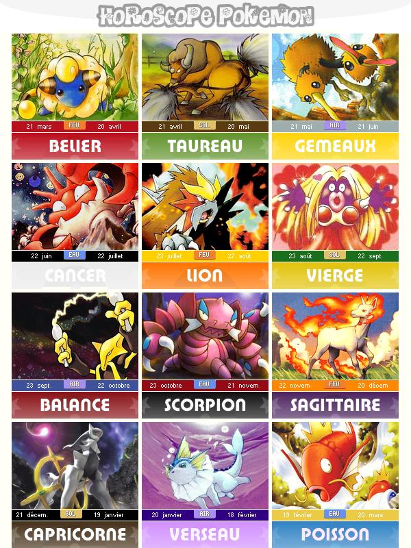 Création : Horoscope Pokemon
