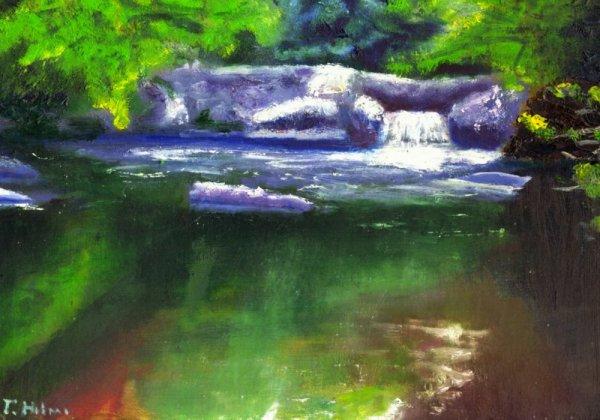 Paysage avec la  peinture a huile
