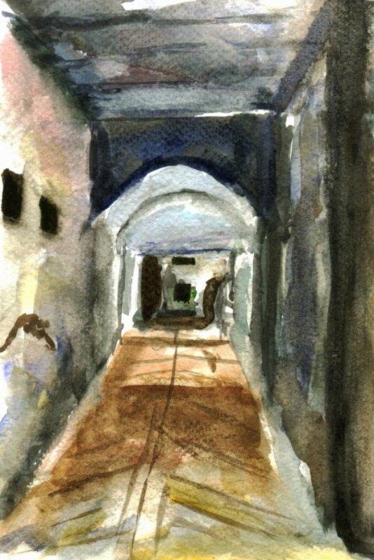 Ville ancienne  (avec aquarelle )