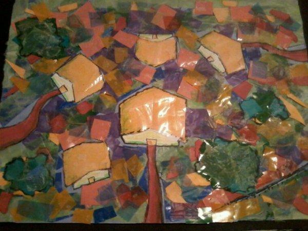 Tableau  avec des morceaux  de plastique