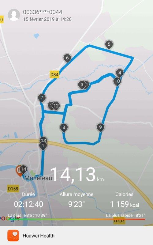 Vendredi 15 février - Entraînement Trail - 14,13 km