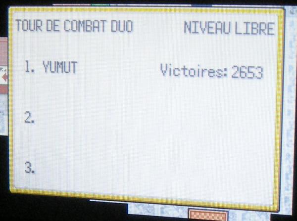 Tour de Combat Duo Nv.100, 2653 victoires consécutives (Pokémon Emeraude)