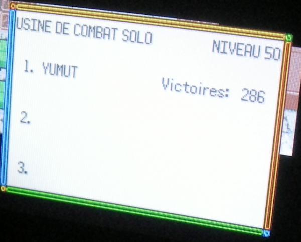 Usine de Combat Solo Nv.50, 286 victoires consécutives (Pokémon Emeraude)
