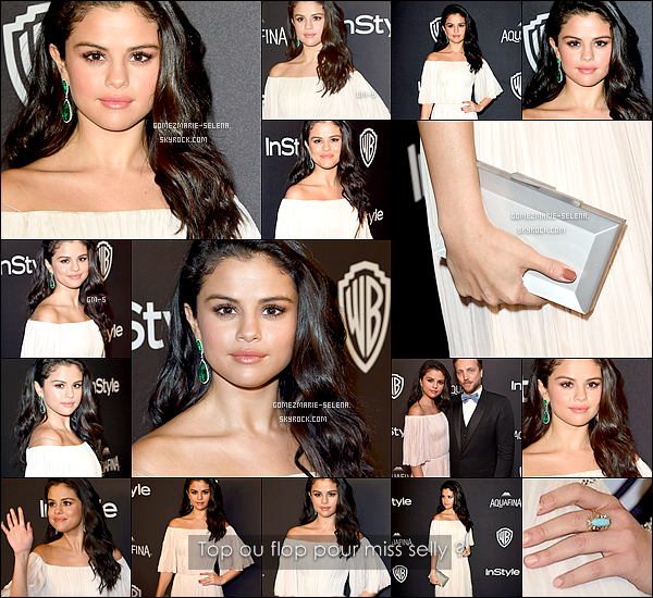 -- 10/01/16:  Selena était à InStyle et Warner Bros. Golden Globes afterparty dans une élégante robe hors de l'épaule. Je la trouve particulièrement magnifique, sa robe est sublime son makup aussi, et elle à de superbe boucle d'oreilles. Qu'en pensez-vous? --