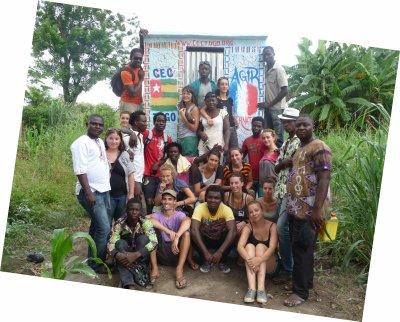 Projet de construction de latrines dans le village d'Alokoegbe en juillet 2012