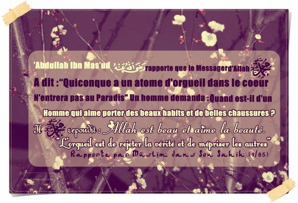 """'Abdullah Ibn Mas'ud rapporte que le Messager d'Allah (salla Allah  'aalaihi wa salam) a dit :     ''Quiconque a un atome d'orgueil dans le coeur n'entrera pas au Paradis""""   Un homme demanda : """"Quand est-il d'un homme qui aime porter des beaux habits et de belles chaussures ?  Il  (salla Allah 'alaihi wa salam) répondit : Allah est beau et aime la beauté.  L'orgueil est de rejeter la vérité et de mépriser les autres''  Rapporté par Muslim dans Son Sahih (1/65)"""