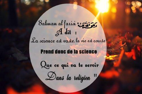 "salman al farisi Radhi Allah anhu :""la science est vaste, la vie est courte prend donc de la science que ce qui va te servir dans la religion"""