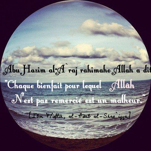 """Abu Hazim al-A`raj, l'illustre tabi`i Rahimou Allah a dit :  """"Chaque bienfait pour lequel Allâh n'est pas remercié est un malheur."""""""