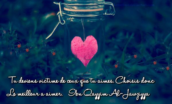"""""""Tu deviens victime de ceux que tu aimes. Choisis donc le meilleur à aimer."""" Ibn Al-Qayyim"""