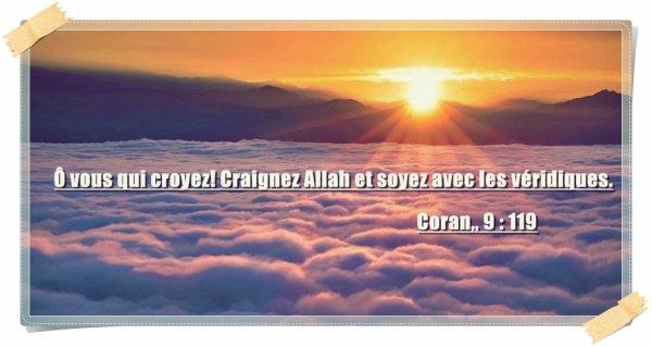 «Ô vous qui croyez! Craignez Allah et soyez avec les véridiques. » (Coran,, 9 : 119)