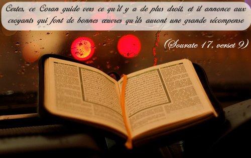 Certes, ce Coran guide vers ce qu'il y a de plus droit, et il annonce aux croyants qui font de bonnes oeuvres qu'ils auront une grande récompense. (Sourate 17, verset 9)