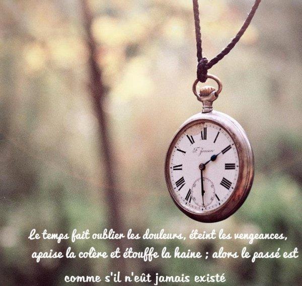 Le temps fait oublier les douleurs, éteint les vengeances, apaise la colère et étouffe la haine ; alors le passé est comme s'il n'eût jamais existé.