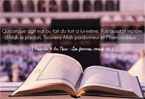 Quiconque agit mal ou fait du tort à lui-même, Puis aussitôt implore d'Allah le pardon, Trouvera Allah pardonneur et Miséricordieux ..  { Sourate 4 An Nisa - Les femmes, verset 110 } ♥