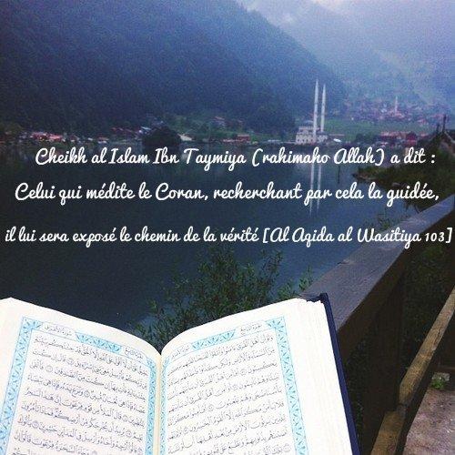 Cheikh al Islam Ibn Taymiya (rahimaho Allah): Celui qui médite le Coran, recherchant par cela la guidée, il lui sera exposé le chemin de la vérité [Al Aqida al Wasitiya 103]
