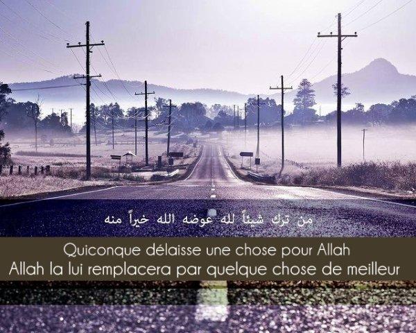 « Quiconque délaisse une chose pour Allah, Allah la lui remplacera par quelque chose de meilleur »