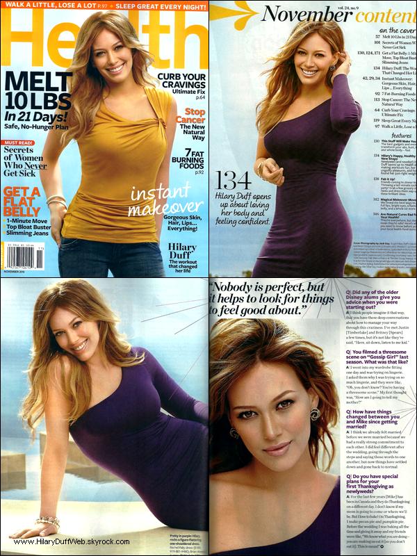 . Scans du magazine « Health » où Hilary parle entre autre de son mariage ainsi que de son roman Elixir. .