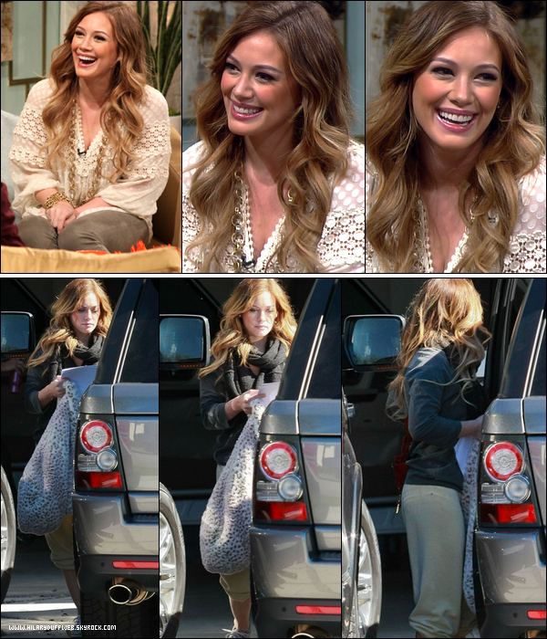 .  Jeudi 11 Novembre : Hil' toute souriante lors de l'émission All Access Hollywood; vidéos 1, 2 et 3 de l'émission. .   Vendredi 12 Novembre : Madame Duff quittant d'un air plus que maussade la maison de sa grande soeur Haylie..