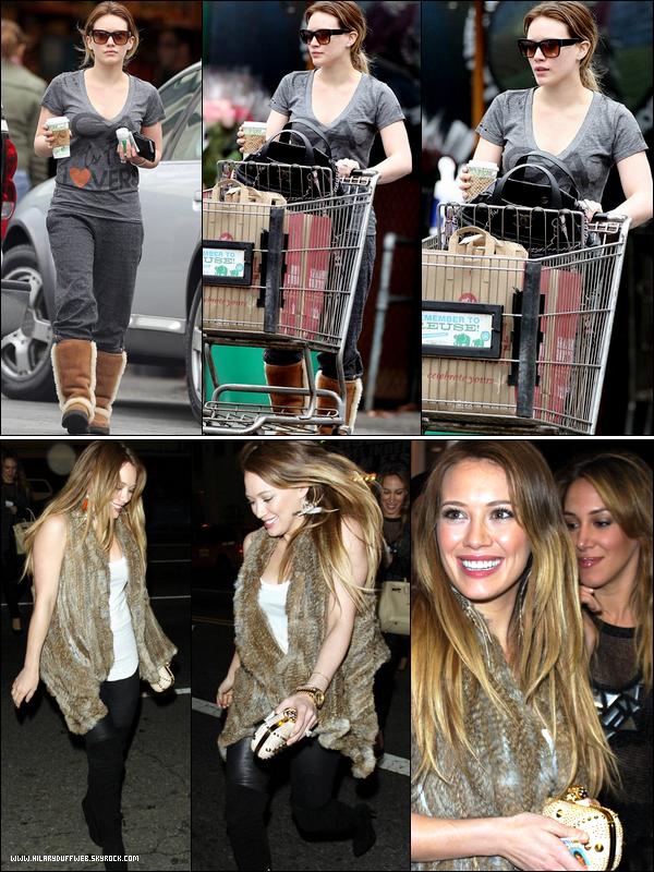 """.  Mercredi 15 Décembre : Hilary, les cheveux bien gras, faisant quelques courses dans un supermarché après sa séance de sport.   Jeudi 16 Décembre : Les soeurs Duff allant voir le film """"Peach Plum Pear"""" à Hollywood. Hil' parait bien joyeuse, pour changer....."""