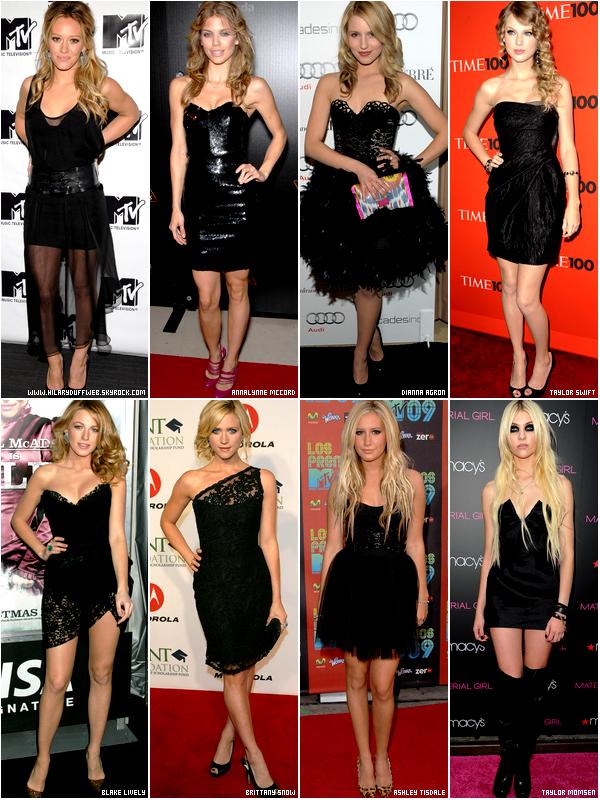 .  Elles sont blondes, riches, célèbres; mais laquelle a le plus d'élégance dans une robe noire ?!    . Peu importe qu'une femme soit belle, bien maquillée ou parfaite de la tête au pied; le plus important c'est ce qu'elle porte et la prestance qu'elle dégage avec. Et c'est bien connu que les blondes comparé aux brunes délivrent un côté plus chic, sensuel, glamour, etc. mais la couleur qui les met le plus en valeur est le noir ! HDW vous a alors sélectionné les plus belles blondes américaines du moment, et c'est à vous de choisir laquelle de ces huit blondes est la plus resplendissante et divine dans une robe noir...   . Selon toi, qui porte le mieux la robe noire et laquelle la porte le moins bien ?     .