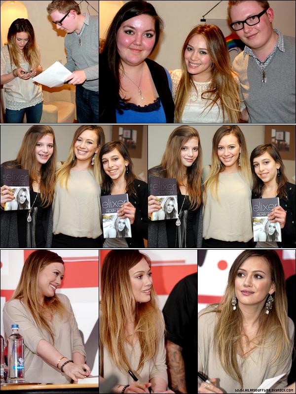 .  Lundi 07 Février : Miss Duff posant avec des fans lors de sa venue à Amsterdam; toujours pour la promotion de son roman..   Mercredi 09 Février : Hil' posant avec des fans et faisant une séance de dédicasse au Wassland Shopping Center en Belgique..