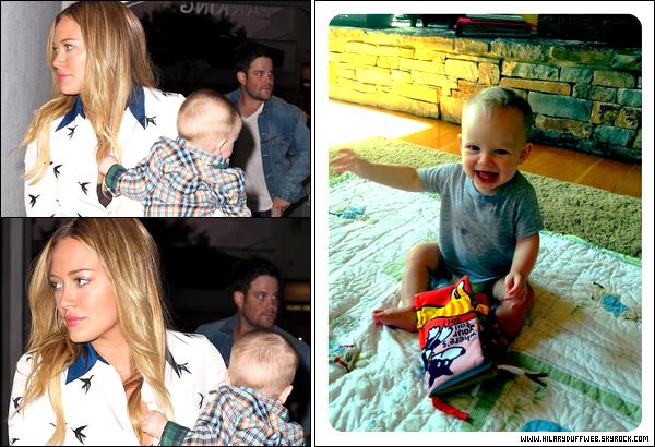 . 28/09/12 : Notre jeune maman adorée quittant le jour de son anniversaire un restaurant avec son mari Mike et son fils Luca....