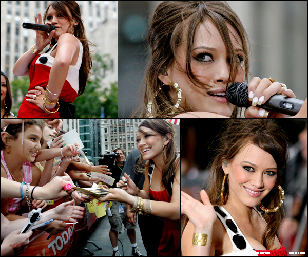 ". FLASHBACK (29 Juin 2007) ~ H. en mode showgirl au Today Show en chantant ""Come Clean"", ""With Love"" & ""Stranger"". ."