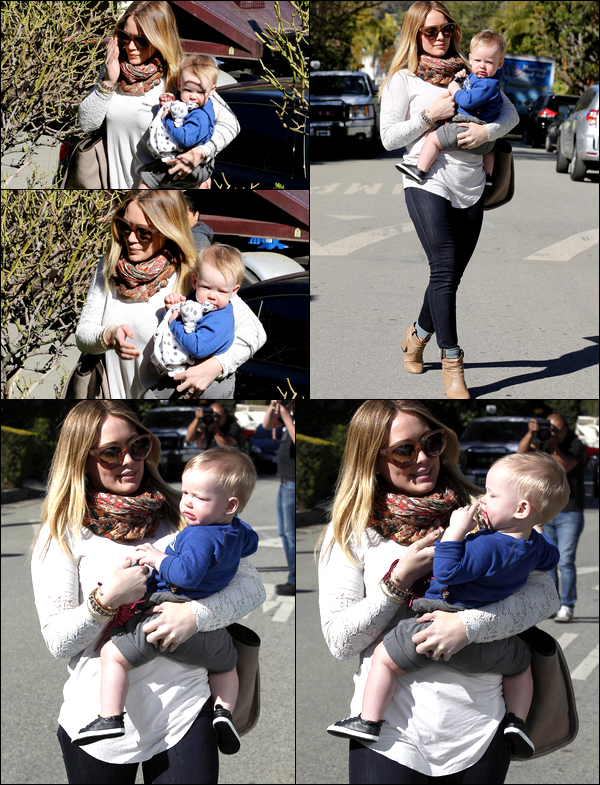 . 17/01/13 : Maman Hil' et son adorable petit Luca quittant la maison d'une amie située en plein Los Angeles. TOP ou FLOP ?.