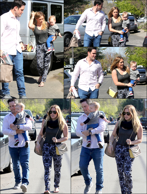 . 09/03/13 : Maman Hil', papa Mike et bébé Luca se rendant ensemble à une petite fête d'anniversaire d'un ami à Studio City....