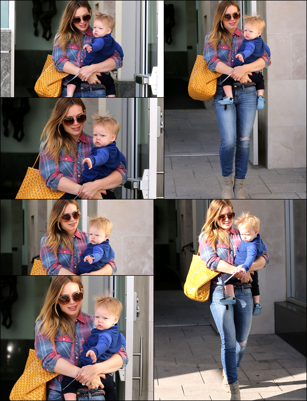 . 14/03/13 : Maman Hilary allant se prendre un petit café au centre de Beverly Hills en compagnie de son adorable petit Luca....