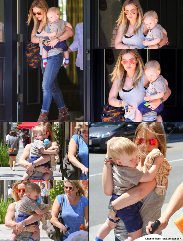 . 18/04/13 : Hil' allant déjeuner en compagnie de son bébé Luca et d'une amie dans un restau' de Beverly Hills. Passionnant....