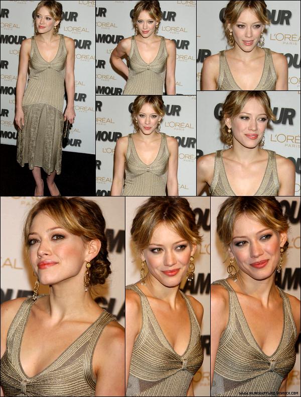 """. FLASHBACK (02 Nov. 2005) ~ Hil' lors d'une soirée organisée par """"Glamour Magazine"""" sur la plus belle femme de l'année. ."""