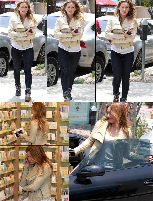 . 12/06/13 : La Duff se rendant dans une librairie de L.A. afin d'acheter des livres pour Luca et une carte pour la fête des pères..