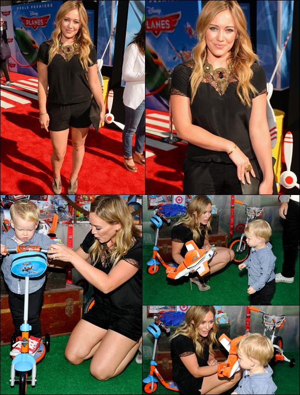 . 05 Août 2013 : La Duff assistant avec son fils Luca à l'avant-première du film d'animation « Planes » à Hollywood !.