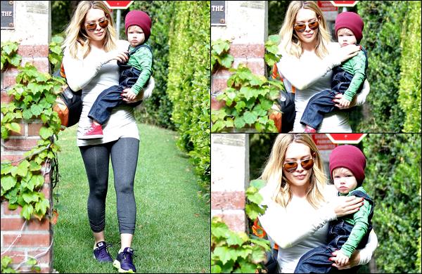 . 24 Octob. 2013 : H. se rendant avec son adorable Luca à son cours pour jeunes mamans; toujours situé à Los Angeles..