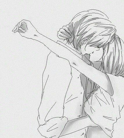 image manga couple en noir et blanc
