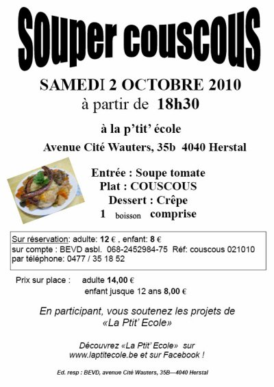 Invitation à menu souper couscou d'octobre 2010