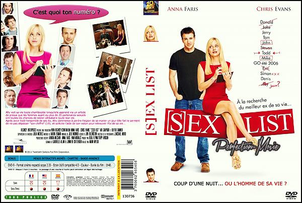 . ► Catégorie Comédie : Sex List (What's Your Number?) est un film américain de Mark Mylod sorti en 2011 avec Anna Faris  , Chris Evans puis Chris Pratt .  .