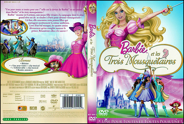 . ► Catégorie Film d'Animation : Barbie et les Trois Mousquetaires (Barbie and the Three Musketeers) est un film d'animation américain réalisé par William Lau, sorti en 2009.  Il s'agit du 16e film mettant en vedette la poupée Barbie . .