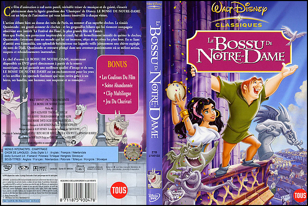 . ► ● ● Catégorie Film Family : Le Bossu de Notre-Dame ( The Hunchback of Notre Dame ) est le 48e long-métrage d'animation et le 34e « Classique d'animation » des studios Disney et qui est sorti en 1996 et qui s'inspire du roman Notre-Dame de Paris de Victor Hugo paru en 1831 ● ●. .