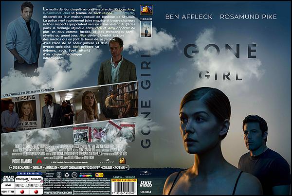 . ► ● ● Catégorie Film Thriller : Gone Girl est un thriller américain de David Fincher et qui est sorti en 2014. Il s'agit de l'adaptation cinématographique du best-seller américain Les Apparences de Gillian Flynn, qui en est également la scénariste avec comme acteurs principaux  Ben Affleck, Rosamund Pike, Neil Patrick Harris ● ● .  .