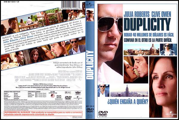 . ► ● ● Catégorie Film D'espionnage et Comédie Romantique et Biopic : Duplicity est un film américain écrit et réalisé par Tony Gilroy et qui est sorti le 25 mars 2009 avec comme acteurs principaux  Julia Roberts, Clive Owen, Tom Wilkinson . ● ●  .