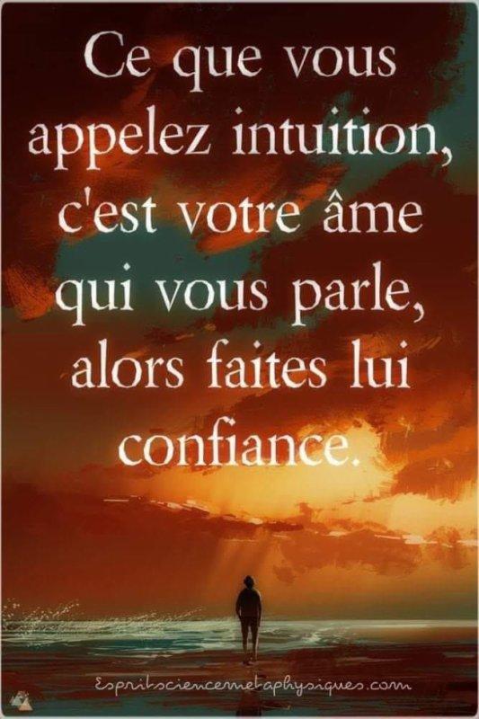 Ce que vous appelez intuition, c'est votre âme qui vous parle
