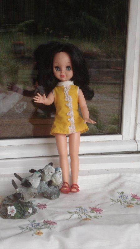 Une nouvelle brune aux yeux bleus. Elle a une boite à cris qui fonctionne mais ne parle pas français. C'est une Mattel qui me vient de chez Titine