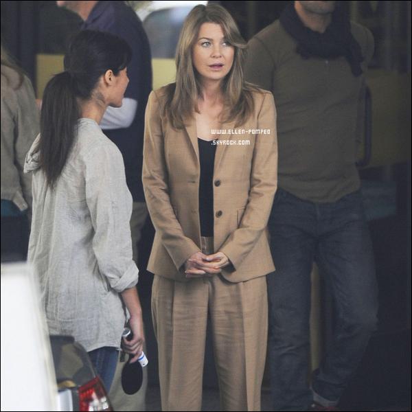 . Le 04 Avril 2012 -   Elllen, Jesse Williams, Sandra Oh et Sarah Drew tournant une scène de Grey's Anatomy à Los Angeles. .