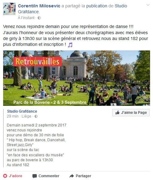 Pub : Studio Grafdance aux Retrouvailles 2017 de Liège